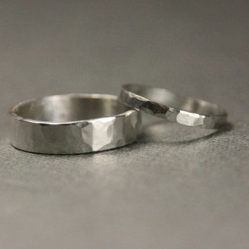 His and Hers Matching Hammered Silver Bands -Set of Two Rings- Wedding Jewelry