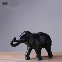 BUF Modern Abstract Black Elephant Statue Resin Ornaments Home Decoration accessories Gift Geometric Resin Elephant Sculpture