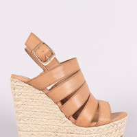 Bamboo Strappy Slingback Espadrille Wedge