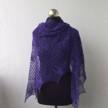 Purple Violet beaded hand knitted alpaca  lace shawl