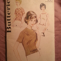 Uncut 1960's Butterick Sewing Pattern 2545! Size 10 Bust 31 Small/Women's/Misses/Retro/Sleeveless Top/Short Sleeve Shirt/Buttoned Overblous