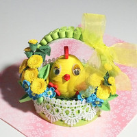Quilling art Easter basket Easter chicks Easter Decoration Easter basket gifts Easter gift 3D art Easter handmade Flower basket