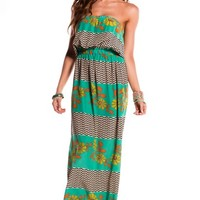 Casual Green Floral and Taupe Wave Strapless Maxi Dress