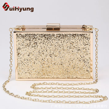 Free Shipping New Fashion Female Glitter Evening Bag Gold Alloy Frame Hard Box Day Clutch Women Party Handbag With Shoulde Chain