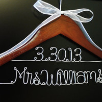 Mrs (Last Name) Personalized Wedding Name Hanger- 2 Lines