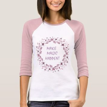 Elegant Watercolor White Flowers Wreath Monogram T-Shirt
