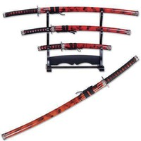 3pc rED Samurai Sword Set YK58R4