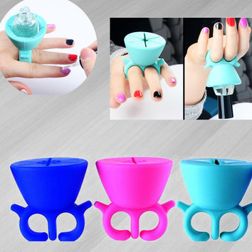 pro 1pc portable woman lady girls Silicone Finger Wearable Nail Polish Holder Display nail makeup tool accessory