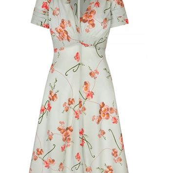 Suzannah | 30s Vintage Print Tea Dress | Tropical Print Tea Dress