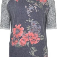 Grey Floral Print Front Sweatshirt With Space Dyed 3/4 Sleeves plus size 16,18,20,22,24,26,28,30,32,