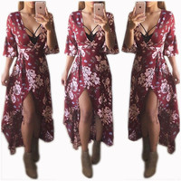 V-Neck Flower Twist Maxi Dress 22146