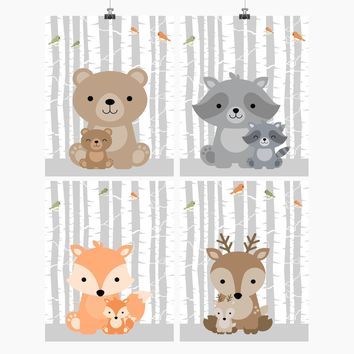Woodland Animals and Babies Birch Tree Background Nursery Art Set of 4 Prints - Bear, Raccoon, Deer and Fox