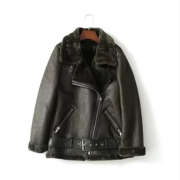 Faux Leather Suede Coat Aviator Black Leather Jacket Winter Warm Lambs Wool Fur Collar Suede Jackets Shearling Coats Women