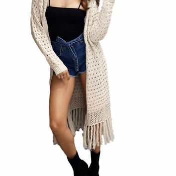 Women's Cream/Beige Elegant Long Cable Knit Duster Sweater Jacket