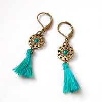 Shaman - Bohemian earrings bronze turquoise tassel