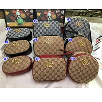 GUCCI New Fashion Women's Stitching Double G Printing Crossbody Bag Shoulder Bag