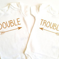 Double Trouble bodysuits, twins, baby boy girl, baby shower, cute baby vests bodygrow, arrow chic, pregnancy, announcement, coming soon