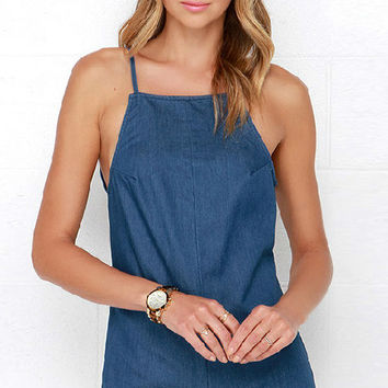 Blue Denim Backless Romper