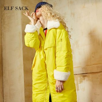 ELF SACK Winter New Solid Women Dowm Coats Fur Turn Dowm Collar Oversize Womens Outerwear Pockets Thick White Duck Down Coats