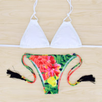 Fashion hot sale upper white two straps hanging neck bottom red flower  print with tassel two piece bikini