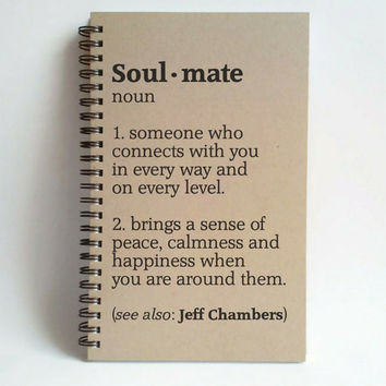 Soul Mate definition, 5x8 custom Journal, personalized spiral notebook brown kraft, engagement, boyfriend, girlfriend gift, romantic gift