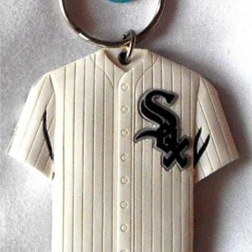 MLB official Jersey Thick Rubber Keychain Laser Cut 2 Sided baseball (Chicago White So