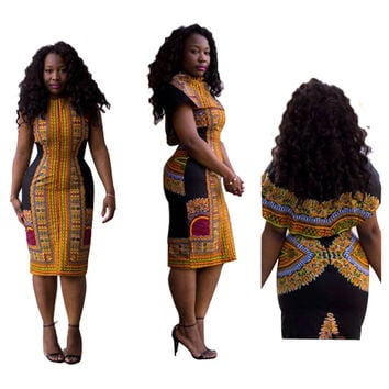 African Vintage Dashiki Black Formal Dress with Cape