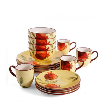 Gibson Home Fruitful Pomegranates 16-Piece Dinnerware Set