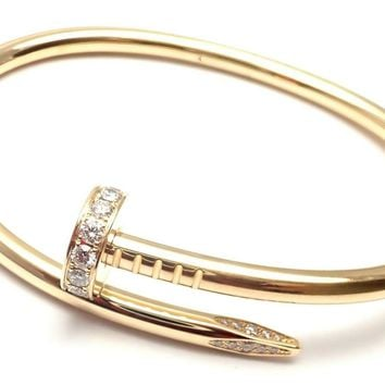 Cartier Juste un Clou Nail 18k Yellow Gold Diamond Bangle Bracelet Size 17 Cert.