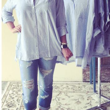 BLUE & WHITE TUNIC SHIRT