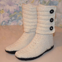 Wool Crochet Slippers, Crochet Slipper Boots, Wool House Shoes, Mother's day, Hand-Knitted Wool Socks, Knit Slippers, Handmade Wool Slippers