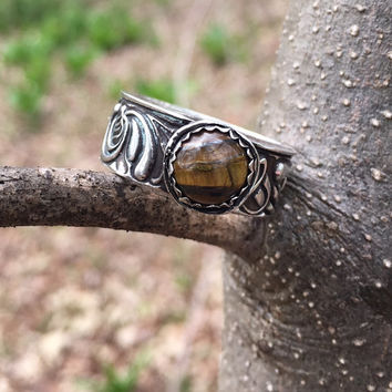 CUSTOM Silver Ring | Handcrafted Silver Clay Ring with Filigree Band and Tiger Iron Gemstone | Silver Wide Band Ring with Brown Tiger Iron