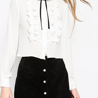 ASOS Frill Detail Contrast Tie Blouse