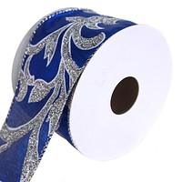 Lame Scroll Wired Christmas Holiday Ribbon, Royal Blue, 2-1/2-Inch, 10 Yards