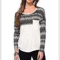 Empyre Long Sleeve Feather Tribal Skater Pacsun Zumiez White Small Juniors