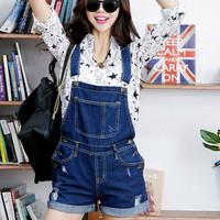 Ripped Roll-Up Hem Denim Shorts Overalls