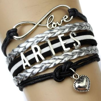 Infinity Love Aries Heart Charm Bracelet Twelve Constellations The Signs of the Zodiac Bracelet Black Silver