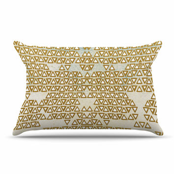"Pom Graphic Design ""Mint & Gold Empire"" Yellow Geometric Pillow Sham"