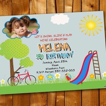 Park Birthday Party Plyground, Birthday Invitation, Birthday Party for little boy and little girl