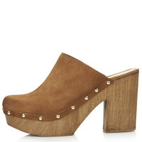 SMOCK Leather Mule Platform Clogs - Tan