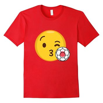 Emoji Loves Japan Soccer T-Shirt Japanese Football Funny Tee