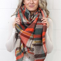Cozy Plaid Blanket Scarf {Forest/Orange Mix}
