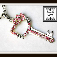Pink Crystal Hello Kitty Key Pendant Necklace by HouseOfVot