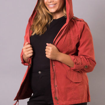Plus Size Hooded Utility Jacket - Sienna