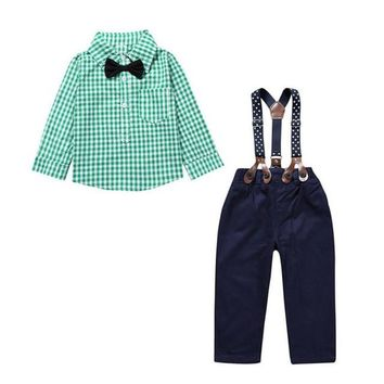 Plaid Shirt , Bow & Overall Set