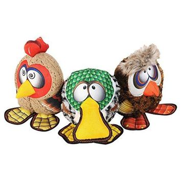 Happy Tails Strong Mesh Fabric Owl, Rooster, Duck Barnyard Buddies Squeaker Chew Plush Dog Toy 3-Pack