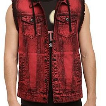 RUDE Red Wash Hooded Denim Vest - 145487