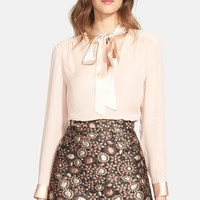 Women's Alice + Olivia 'Irma' Tie Neck Silk Blouse,