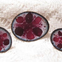"Vintage Modernist Enameled Copper ""Crimson"" Brooch & Earrings Set Stamped Hogan-Bolas"