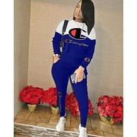 Champion Popular Women Casual Print Long Sleeve Trousers Set Two-Piece Sportswear Blue